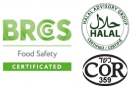 We're BRC, Halal, and COR certified